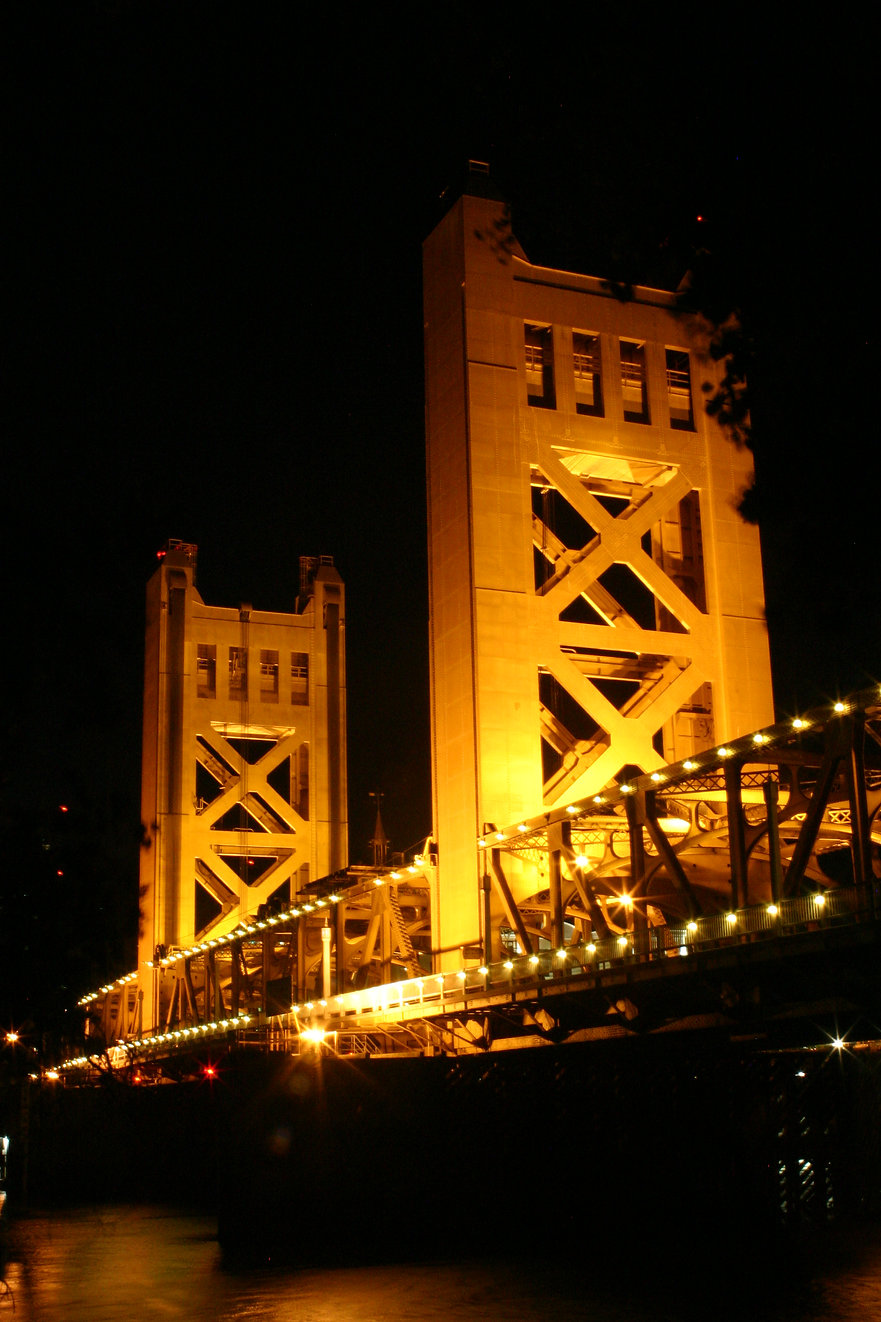 Color photograph by Peter Keresztury of The Towers Bridge in Sacramento. Signed, titled, matted and framed
