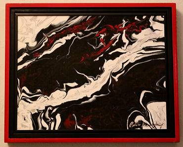 Abstract acrylic painting by Peter Keresztury in reds, black and white with custom frame