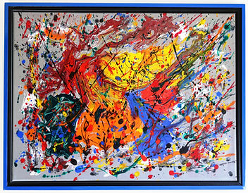 Abstract acrylic painting by Peter Keresztury in reds, blues, greens, yellow, orange and grey with custom frame