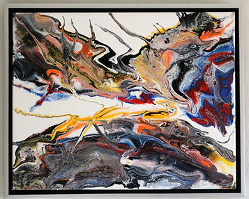 Abstract acrylic painting by Peter Keresztury in reds, blues, yellow, orange, grey and black with custom frame