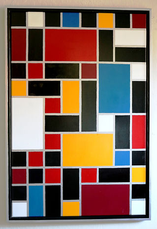 Mondrian style acrylic painting by Peter Keresztury in multi colors with custom frame
