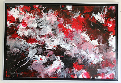 Abstract acrylic painting by Peter Keresztury in reds, white, black and greys with custom frame