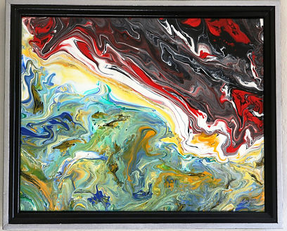 Abstract acrylic painting by Peter Keresztury in  reds, white, black, greens, blues and orange with custom frame