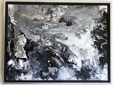 Abstract acrylic painting by Peter Keresztury in black, white, and greys with custom frame