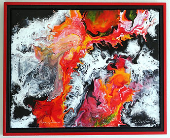 Abstract acrylic painting by Peter Keresztury in reds, white, yellow and black with custom frame