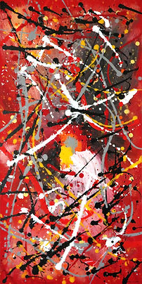 abstract acrylic painting, Pollock style, red, black, white, grey, Peter Keresztury