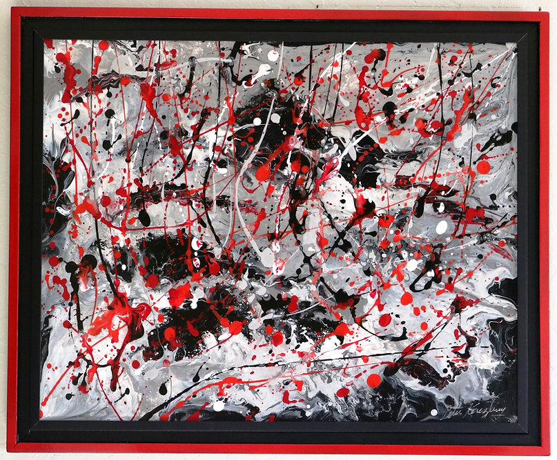 Abstract acrylic painting with custom frame by Peter Keresztury in black, reds, white and greys