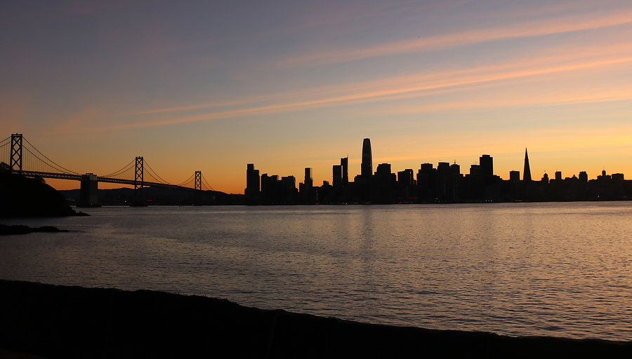 San Francisco and Bay Bridge at dusk from Treasure Island by Peter Keresztury