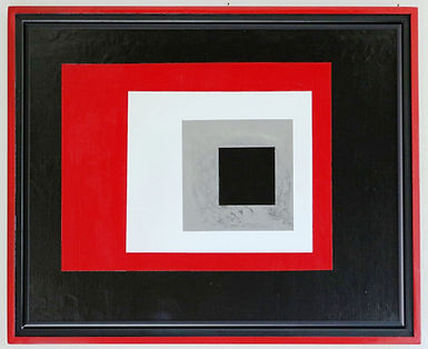 Geometric acrylic painting by Peter Keresztury in red, black, grey and white with custom frame Peter Keresztury in red