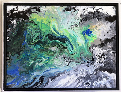Abstract acrylic painting by Peter Keresztury in black, white, greys, greens and blues with custom frame