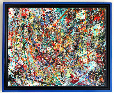 Abstract acrylic painting by Peter Keresztury in multi colors with custom frame