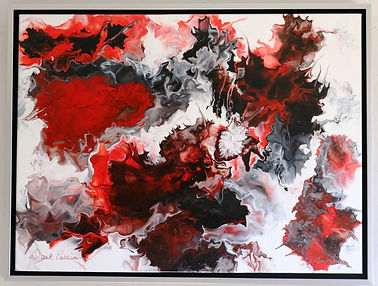 Abstract acrylic painting by Peter Keresztury in reds, black, greys and white with custom frame