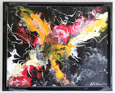 Abstract acrylic painting by Peter Keresztury in reds, yellow, black and white with custom frame