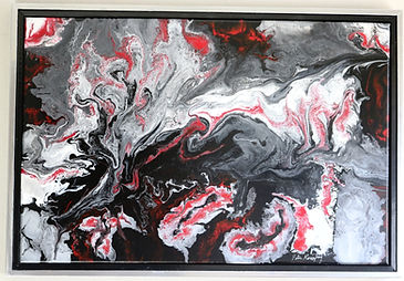 Abstract acrylic painting by Peter Keresztury in reds, white greys and black with custom frame