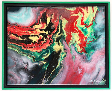 Abstract acrylic painting by Peter Keresztury in greens, reds, yellow and black with custom frame