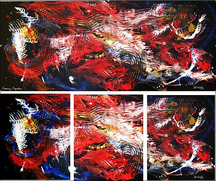 abstract acrylic multi color painting by Peter Keresztury