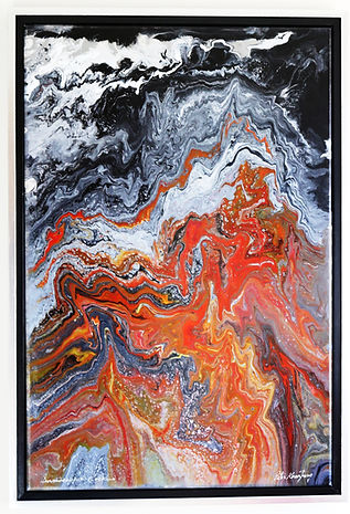Abstract acrylic painting by Peter Keresztury in reds, white, black and orange, with custom frame