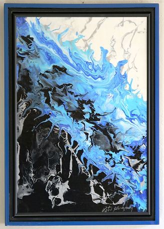 Abstract acrylic painting by Peter Keresztury in blues, black, white and silver with custom frame