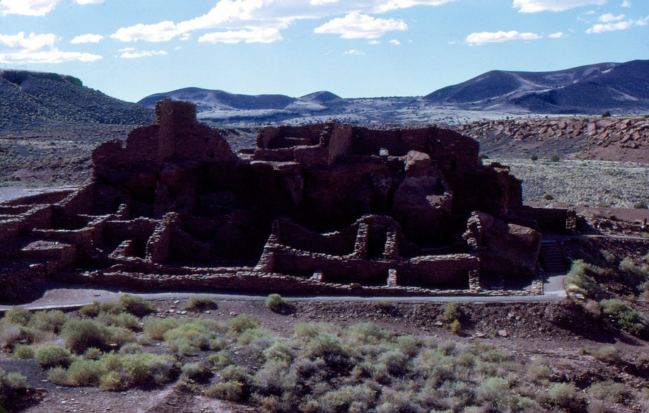 Color photograph by Peter Keresztury of the Anasazi Ruins.  Signed, titled, matted and framed