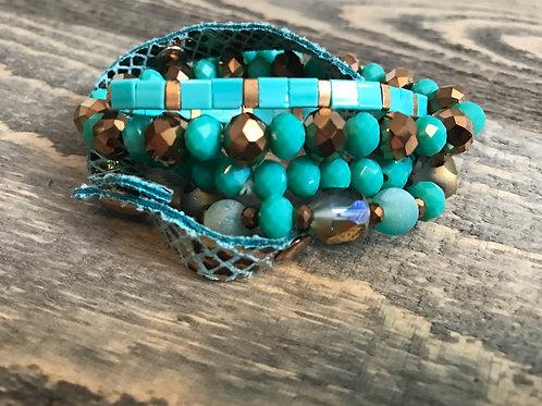 Turquoise Crystal Stacked Bracelet