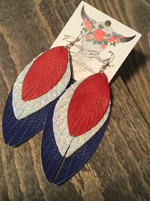 Red, White & Blue Feathered Earring