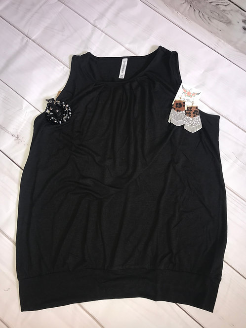 Round Neck Pleated Top with Waist Band - Black