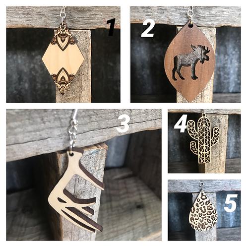 Earrings, wood