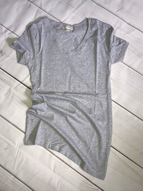 Basic Cotton V-Neck -Heather Grey