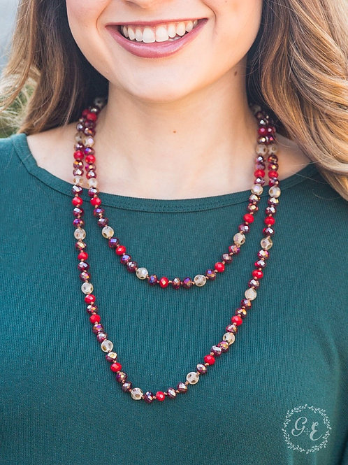 Red beaded multi layered necklace