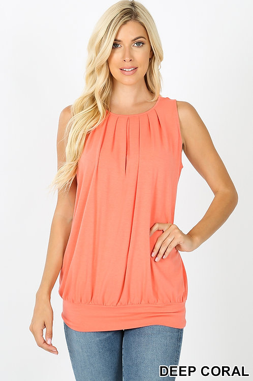 Round Neck Pleated Top with Waistband - Deep Coral