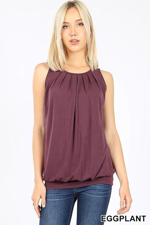 Round Neck Pleated Top with Waistband - Eggplant
