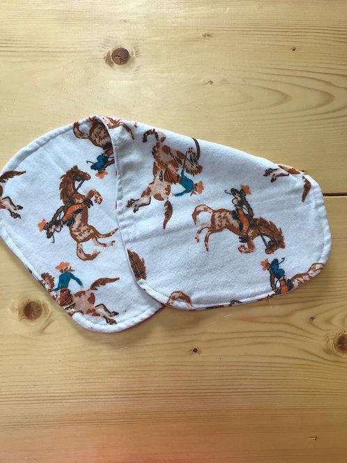 Bronc rider burp cloth