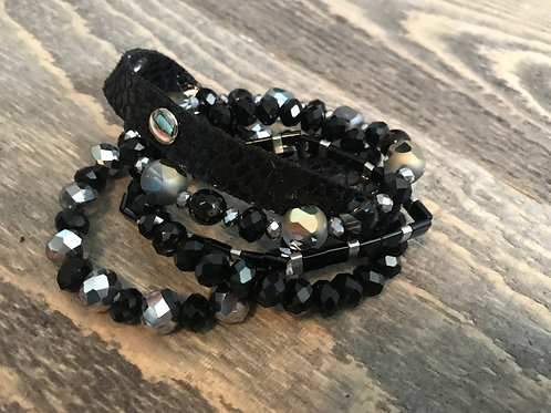 Black Crystal Stacked Bracelet