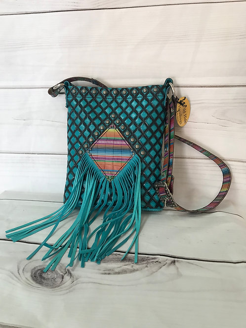 Quilted Blue with serape and fringe