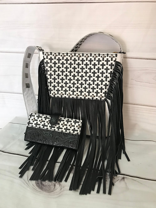 White & Black cross body purse with wallet