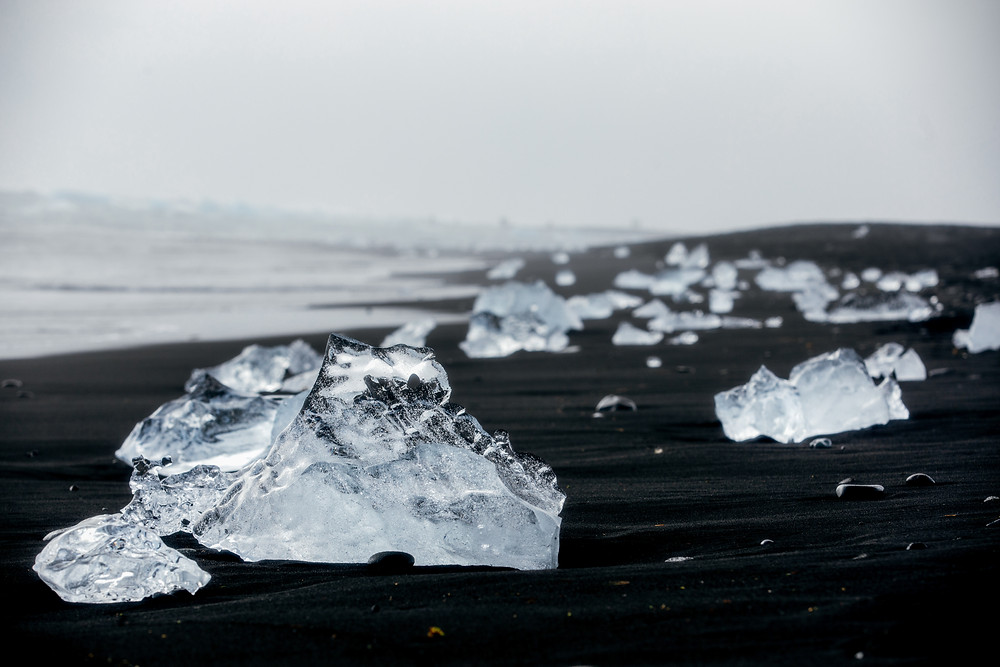 Diamond Beach Iceland. Born from conflict its a polished diamond on the black sands.