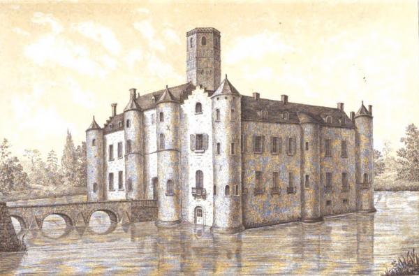 llustration tirée de l'ouvrage Histoire du Château et des Seigneurs d'Esquelbecq par A. Bergerot