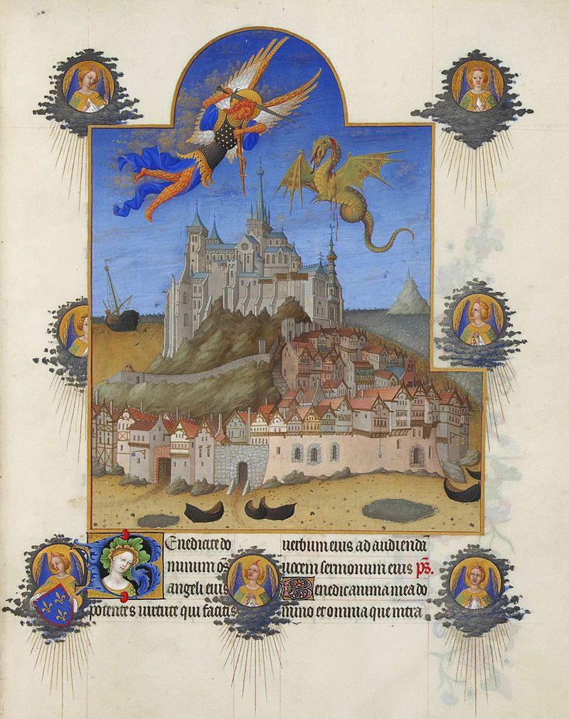La Fête de l'Archange, Les Très Riches Heures du duc de Berry, musée Condé, Chantilly, ms.65, f.195