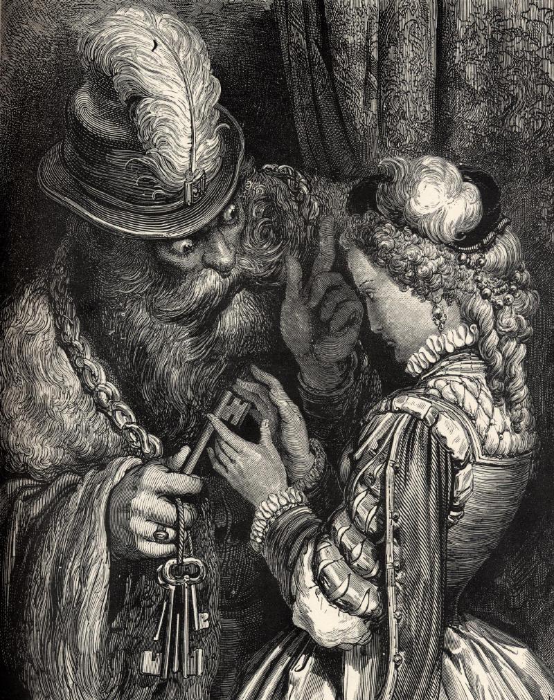 Иллюстрация Гюстава Доре к сказке Шарля Перро «Синяя борода»