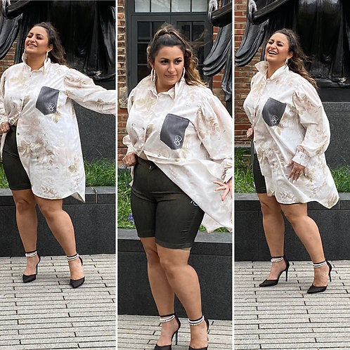 """Paris is Calling Oversized Boyfriend Shirt w/Puffer Sleeves"""