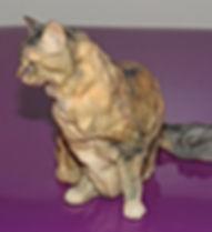 Chat 3D final après impresson 3D et finitios (il s'agit du même chat montré dans les différentes étapes ici.)