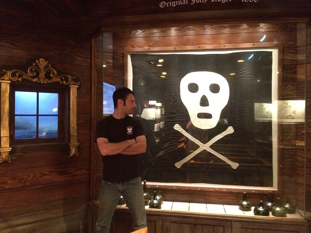 Chris with an original Jolly Roger flag in St. Augustine, FL.