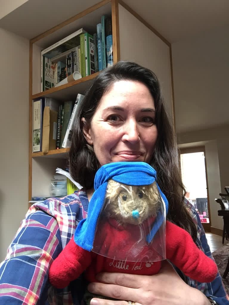Rebecca holding Little Ted the XP Teddington Trust Bear!