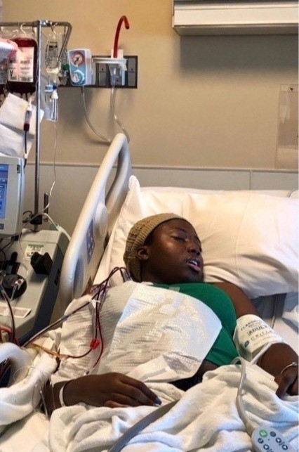 Shakarra ill in her hospital bed - sleeping