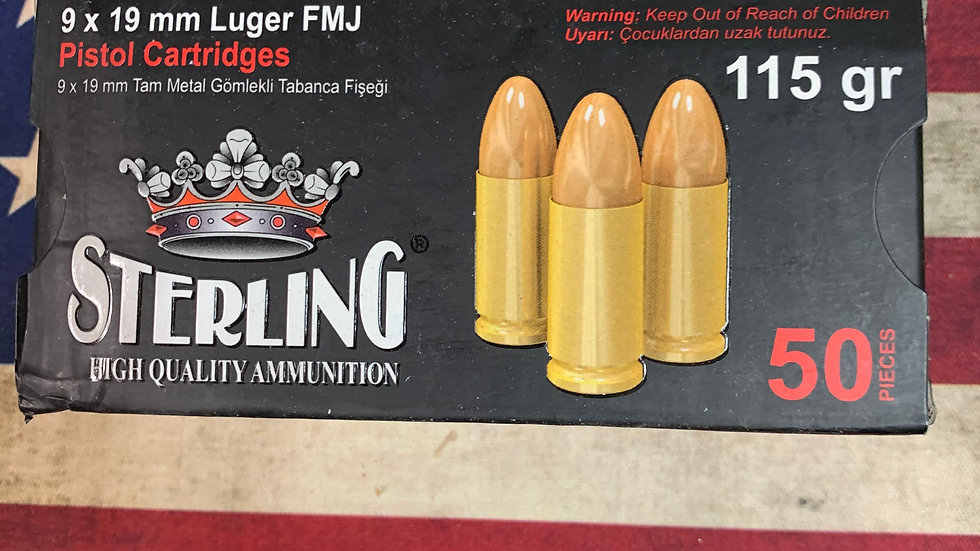 Sterling 9mm 115 grain 50 rounds