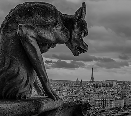 Gargoyle with Eiffel Tower Visit the Hid
