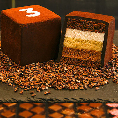 Sinfully delicious cake with 3 different chocolates