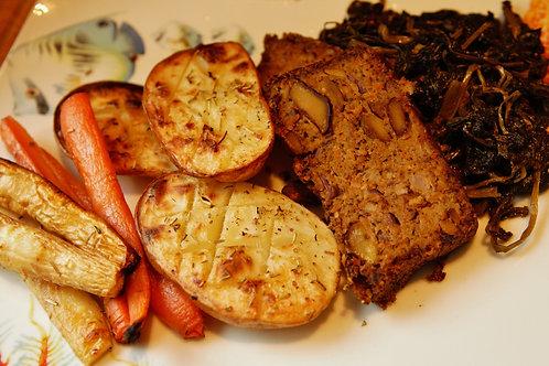 Vegan Nut Roast with roasted vegetables