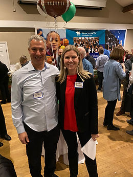 John Carini and Kristin Shannon of iEnterprises, organizers of Chili Bowl II fundraise for Tri-County Scholarship Fund.