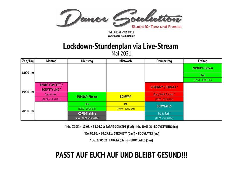 Lockdown-Stundenplan (Fitness-LiveClasse
